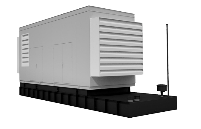 Precision Quincy Industries Pre-Engineered Generator Enclosure with Fuel Tank Transparent Background